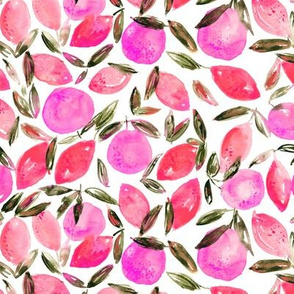 Pink orchard || watercolor citrus pattern