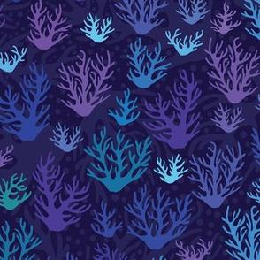 Blue and Purple Corals Under Sea