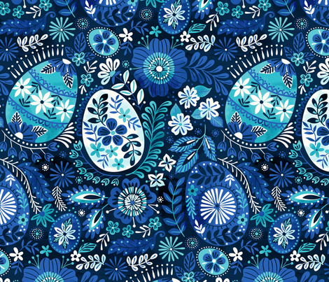pysanky blue fabric by laura_may_designs on Spoonflower - custom fabric