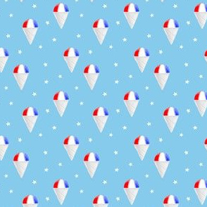 (small scale) Red White and Blue snow cones - light blue with stars - LAD19