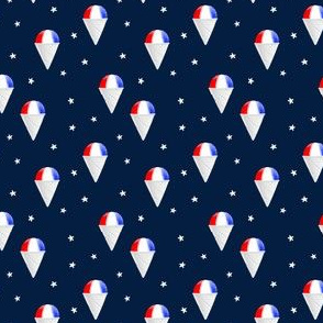 (small scale) Red White and Blue snow cones - navy with stars - LAD19