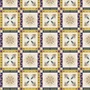 Folk Spring Floral and Geometric Pysanky Tiles -- Blue -- by thetruethread