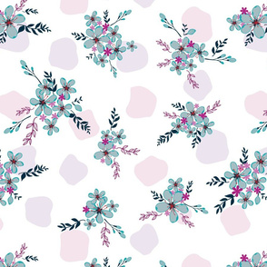 seamless floral pattern with blue flowers