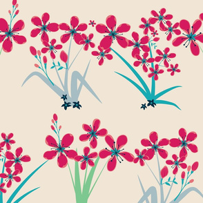 seamless floral pattern with lined up flowers
