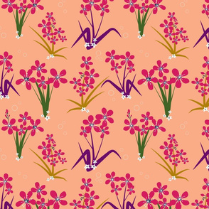 Seamless floral pattern with pink flowers and colorful leaves