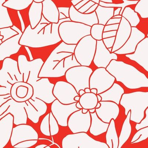 Large Scale floral red