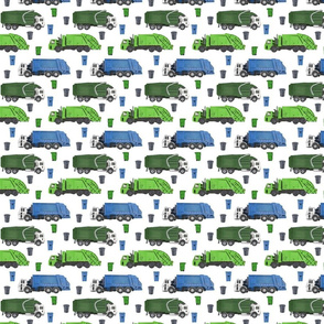 Small Scale Garbage Trucks on White