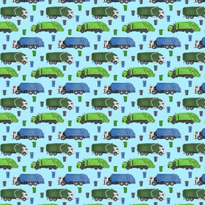 Small Scale Garbage Trucks on Light Blue