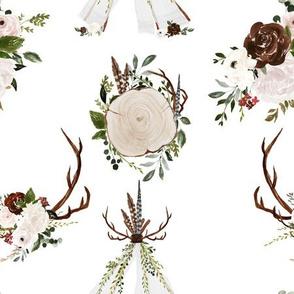 """9""""  Boho Wood Antler Tepee Flowers for Girls"""