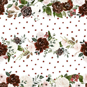 """14""""  Boho Sienna Brown and Blush Flowers and Polka Dots for Girls on white"""