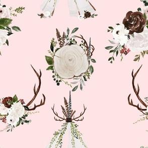 """9"""" Boho Blush Wood Antler Tepee Flowers for Girls"""