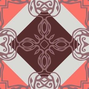 Southwest Tile 60s Mod Style - Mauve Coral Palette