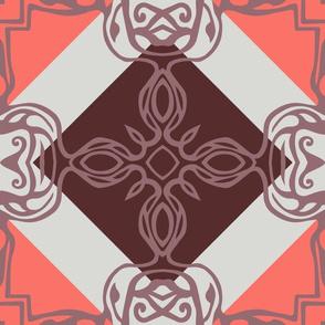 Southwest Tile 60s Mod Style - Coral Mauve Style
