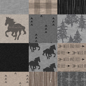 Wild Horses Patchwork - Black, Brown And grey