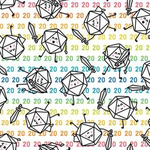 The Mighty Fighting d20s in Rainbow on White