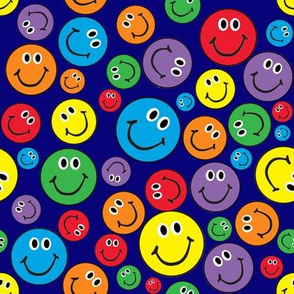 "8"" Rainbow Smiley Faces Pattern Blue"
