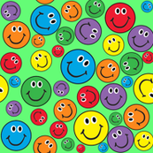 Rainbow Smiley Faces Pattern Green