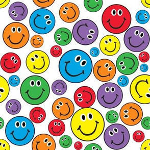 "8"" Rainbow Smiley Faces Pattern White"