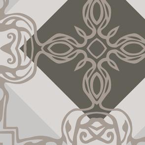 Southwest Tile 60s Mod Style - Jumbo Size - Warm Greys