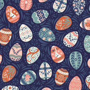 Ornate Easter Eggs in Blue + Pink