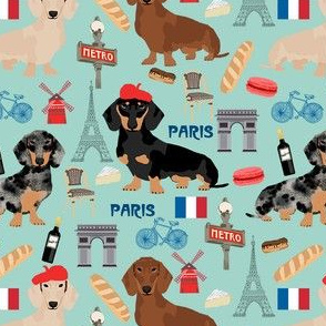 dachshund in paris fabric - dogs in paris, doxie fabric, french fabric, parisian fabric, cute dogs in paris, love dogs, eiffel tower fabric -  mint