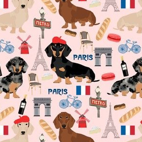 dachshund in paris fabric - dogs in paris, doxie fabric, french fabric, parisian fabric, cute dogs in paris, love dogs, eiffel tower fabric -  pink