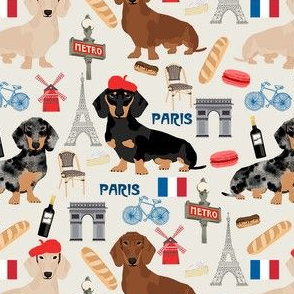 dachshund in paris fabric - dogs in paris, doxie fabric, french fabric, parisian fabric, cute dogs in paris, love dogs, eiffel tower fabric - cream