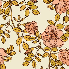 Climbing roses in pink and gold - small
