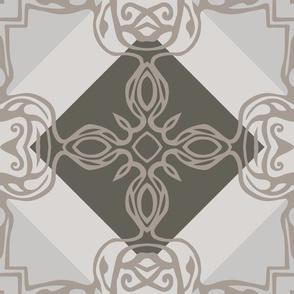 Southwest Tile 60s Mod Style - Warm Greys