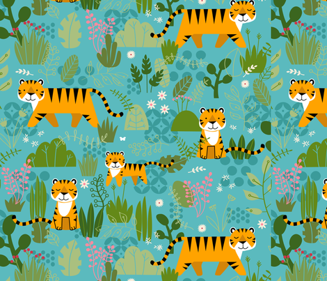 Tiger, Tiger- Day fabric by lellobird on Spoonflower - custom fabric