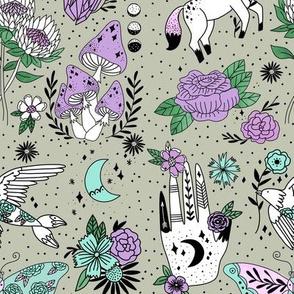 flash pattern fabric - moth, tattoo, crystal, mushrooms, magic mushroom, hippie, pegasus, palmistry, floral, protea fabric - sage