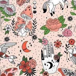 flash pattern fabric - moth, tattoo, crystal, mushrooms, magic mushroom, hippie, pegasus, palmistry, floral, protea fabric -  rose