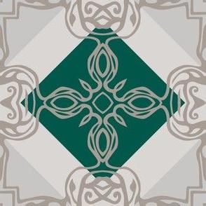 Southwest Tile 60s Mod Style  - Small - Hunter Green