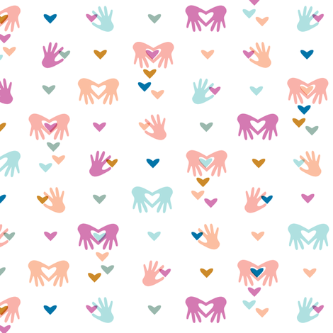 Paper Valentines* || cut hand hands heart hearts valentine day love pastel symbol pink coral aqua fabric by pennycandy on Spoonflower - custom fabric