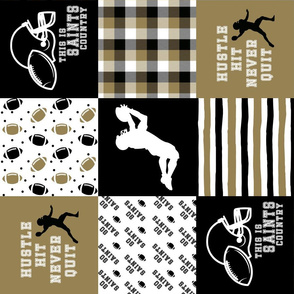 Football//Hustle Hit Never Quit//Saint - Wholecloth Cheater Quilt - Rotated