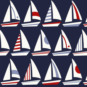 Big Sailboats and Triangles Red White Blue