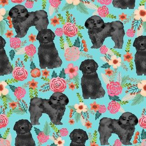 black shih tzu floral fabric - dog fabric, shih tzu fabric, cute dog fabric - turquoise