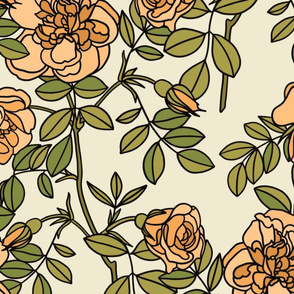 Climbing roses in peach