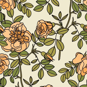 Climbing roses in peach - small