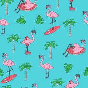flamingo party fabric - flamingo, flamingos fabric, summer fabric, pool, float, beach, palm tree, tropical fabric -  teal