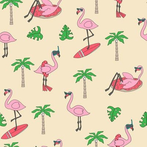 flamingo party fabric - flamingo, flamingos fabric, summer fabric, pool, float, beach, palm tree, tropical fabric -  yellow