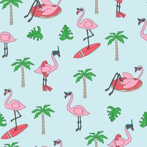 flamingo party fabric - flamingo, flamingos fabric, summer fabric, pool, float, beach, palm tree, tropical fabric - light blue