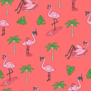 flamingo party fabric - flamingo, flamingos fabric, summer fabric, pool, float, beach, palm tree, tropical fabric -  coral