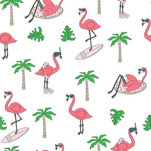 flamingo party fabric - flamingo, flamingos fabric, summer fabric, pool, float, beach, palm tree, tropical fabric - brights