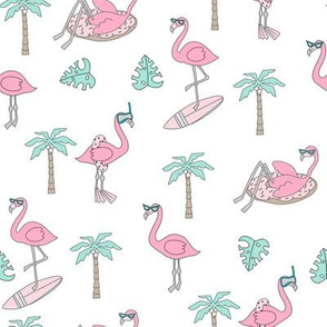 flamingo party fabric - flamingo, flamingos fabric, summer fabric, pool, float, beach, palm tree, tropical fabric -  pastel