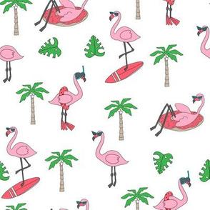 flamingo party fabric - flamingo, flamingos fabric, summer fabric, pool, float, beach, palm tree, tropical fabric - white