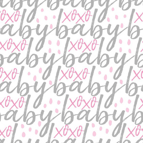 Grey and Pink Baby Gift Wrap