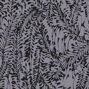 batik leafy greens in gray and black