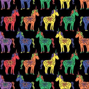 Rainbow Unicorns on Black large scale