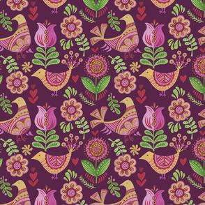 Pysanki _Birds & Flowers_Plum
